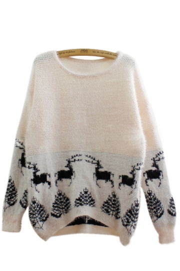 25.12$! Womens White Christmas Reindeer Tree Mohair Oversized ...