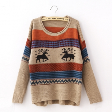 Tacky Reindeer Striped Women Christmas Pullover Sweater