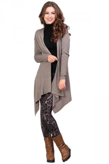 Long Droped Brown Cardigans Cardigan Sweaters For Women