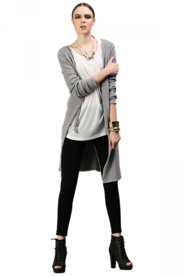 Classic Long Sleeves Grey Cardigans Cardigan Sweaters For Women