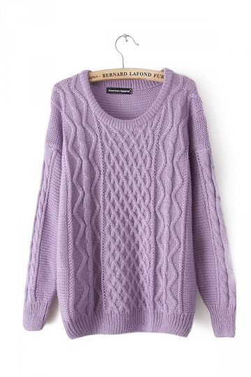 Cable Knit Pullover Purple Sweaters Sweater Dresses For Women