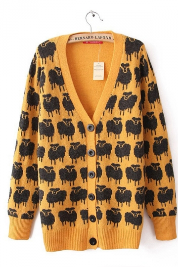 Sheep Pattern Long Sleeve Orange Cardigans Womens Cardigan Sweater