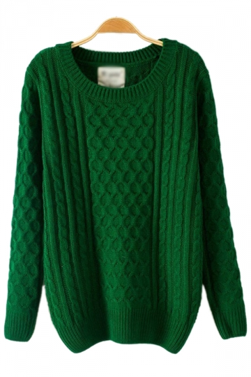 Batwing Sleeved Net Green Sweater
