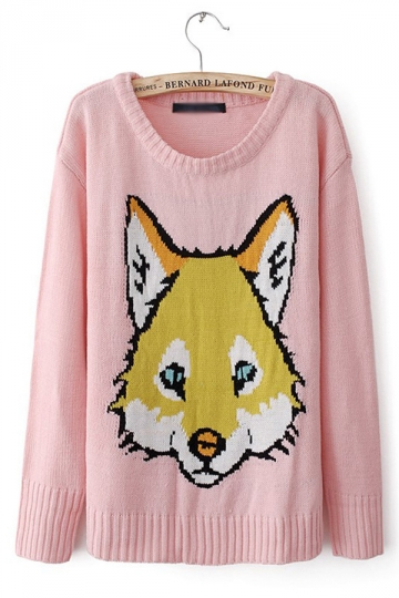 Fox Printing Pink Sweater