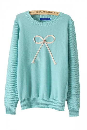 Cute Bow Blue Sweaters Winter Sweaters For Women