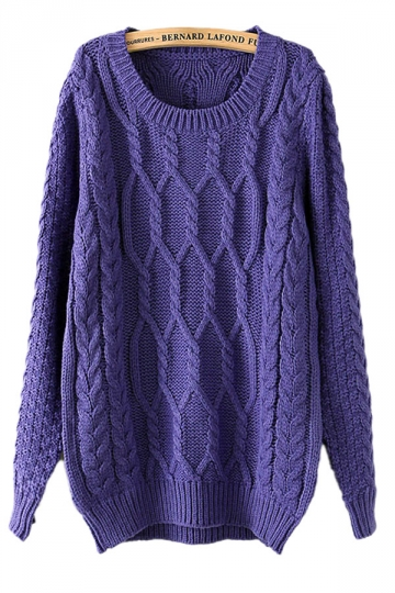 Purple Retro Cable Knit Sweater Sweater Dresses For Women