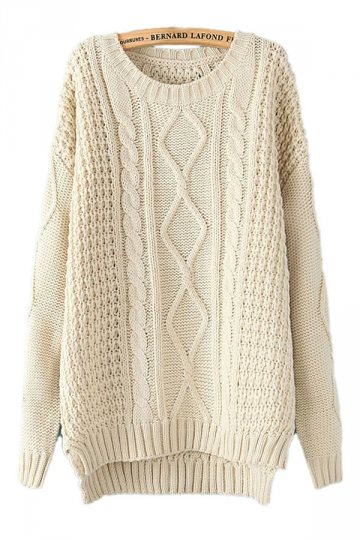 Beige White Diamond Cable Knit Sweater Winter Sweaters For Women