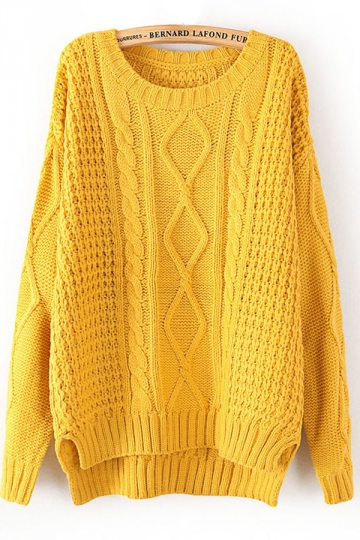 Yellow Diamond Cable Knit Sweater Winter Sweaters For Women