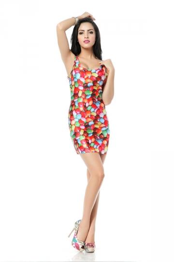 Colorful Round Pills Print Mini Dress