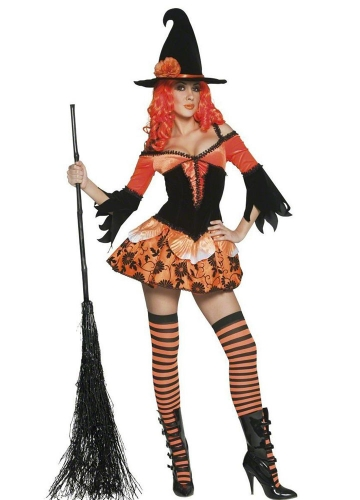 Orange Off Shoulder Halloween Witch Costume Sexy Witch Costume