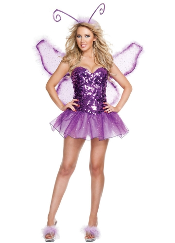 Purple Sequin Butterfly Fairy Halloween Costume