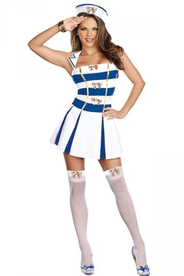White Stripy Sailor Halloween Costume Sailor Costume Women