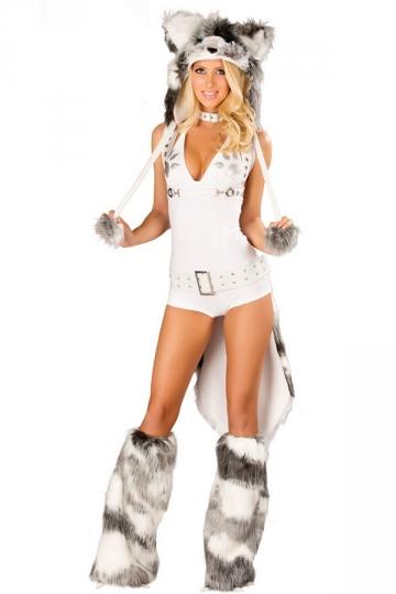 Sexy Husky Romper Tail Women Halloween Costume