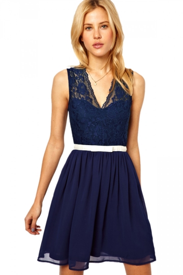 Sexy Deep Blue V Neck Sleeveless Lace Dress Lace Dress On Sale