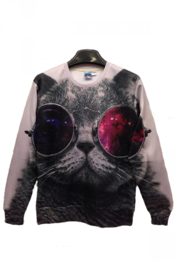 Sunglasses Cat in Space White Crew Neck Sweatshirt