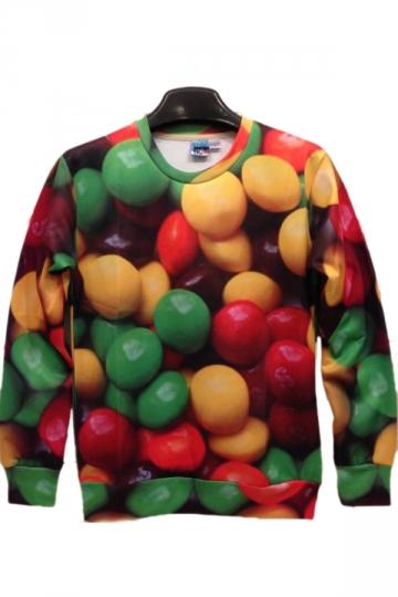 Colorful Pills Print Green sweatshirts