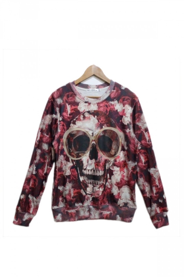 Red Bloody Skull Printed Sweatshirt