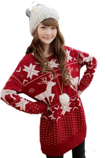 Red Cute Reindeer Pattern Christmas Sweater