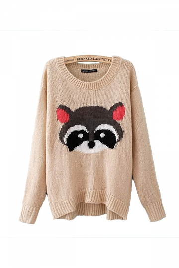 Cute Racoon Print Long Sleeves Beige White Patterned Pullovers