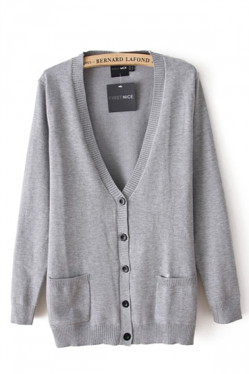 Classic Pockets V Neck Grey Plain Cardigans