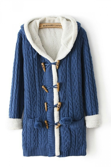 Hooded Ireland Long Sleeves Blue Sweater Coats Hooded Sweater Coat