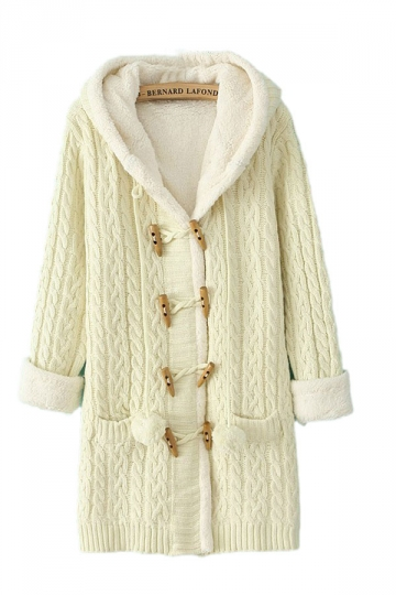 Hooded Ireland Long Sleeves Beige White Sweater Coats