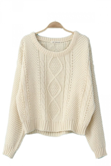 Rhombus Cable Knit Beige White Patterned Pullovers