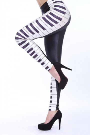 Black Symmetrical Piano Pattern Leggings