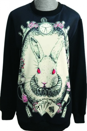 Alice in Wonderland Rabbit Animal Print Crew Neck Sweatshirt