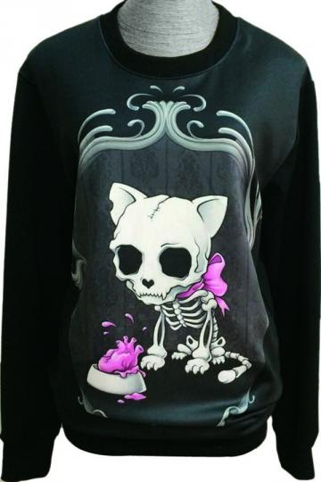 Skeleton Cat Animal Print Pullover Crew Neck Sweatshirt