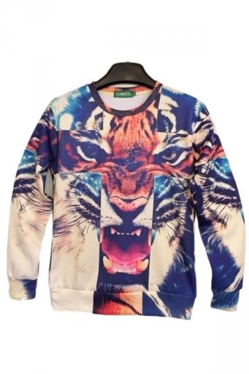 Tiger Cross Animal Print Pullover Crew Neck Sweatshirt