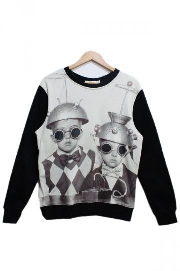 Black Punk Children Printed Sweatshirt