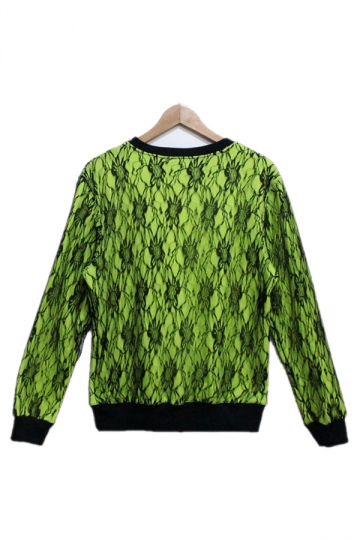 Green Floral Laced Printed Sweatshirt