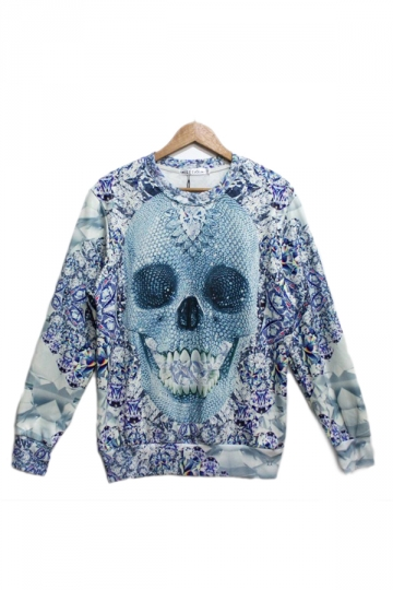 Blue Paillette Skull Printed Sweatshirt