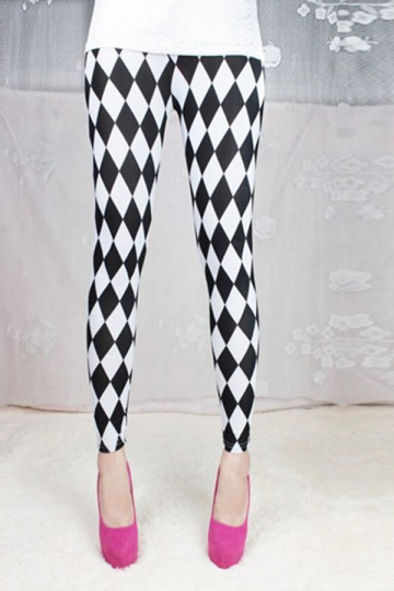 Black and White Rhombus Plaid Printed Womens Leggings