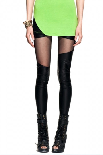 Black High Waist Leather Irregular Ripped Leggings