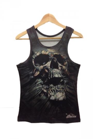 Black Skull Evil Print Tank Top
