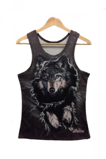 Black Running Wolf Print Tank Top