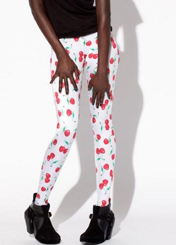 Cute White Cherry Print Designer Leggings