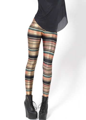 Black Tribal Striped Women Sexy Leggings