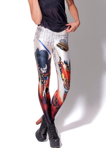 White Chinese Door God Print Women Designer Leggings