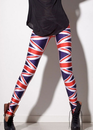 Purple Sexy Womens British Flag Printed Leggings
