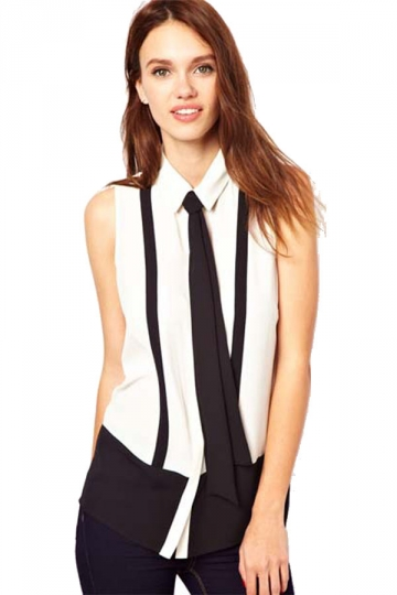 White Womens Sleeveless Black Tie Chiffon Blouse Sexy Blouses