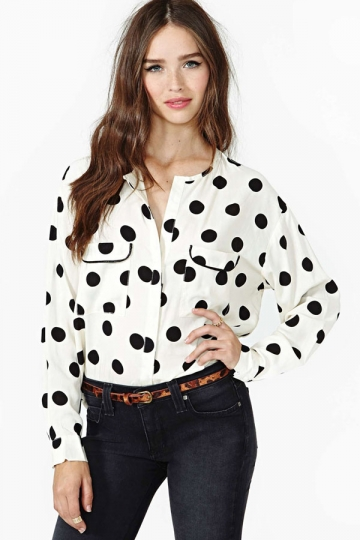 Cute Ladies Chiffon Polka Dot Loose Blouse