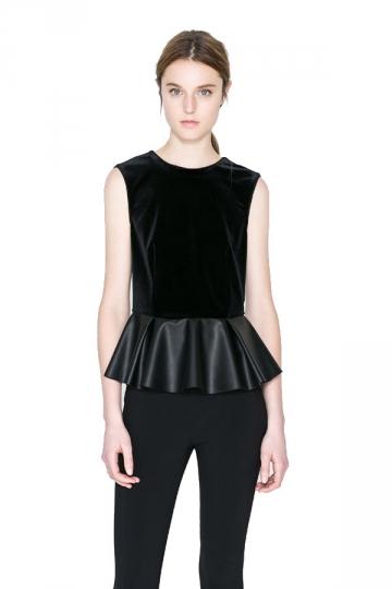 Fashion Velvet Sleeveless Leahter Ladies Peplum Top