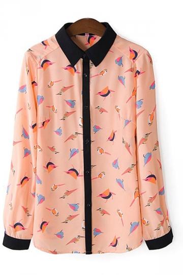 Long Sleeve Birds Pattern Blouse
