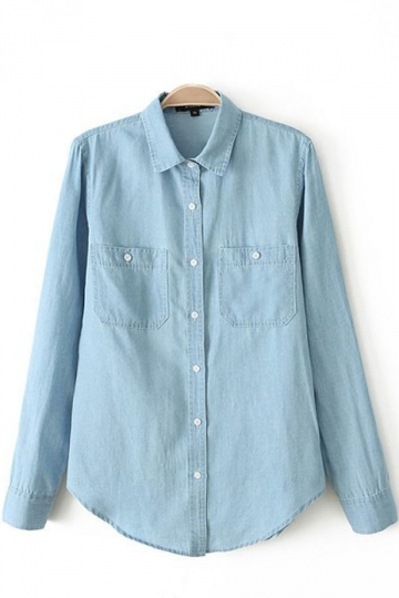 Light Blue Double Pockets Womens Jean Blouse