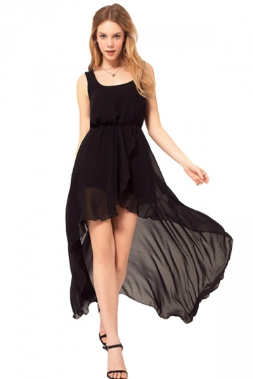 Long black tank top dress