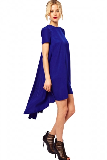 Blue Short Sleeve Sweet Swallow Tail Swing Womens High Low Dress