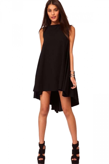 Black Chiffon Asymmetrical Ladies Off Collar Pleated Baby doll Dress